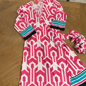 Tracy Negoshian Pink/White Dress Size Medium